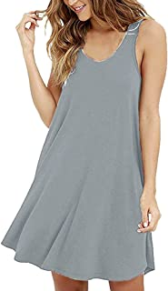Sleepwear Swing Dresses for Womens Casual Loose Simple Sleeveless Chemise Soft Cotton Nightgown T-Shirt Dress