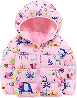 Happy Cherry Toddler Boys Winter Puffer Jacket Cute Cartoon Hooded Coat Thick Thermal Outerwear 1-6 Years