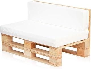 comprar comparacion Conjunto Sofa DE PALETS + Set Cojines (Asiento + Respaldo) (120X80, Blanco Nautico)