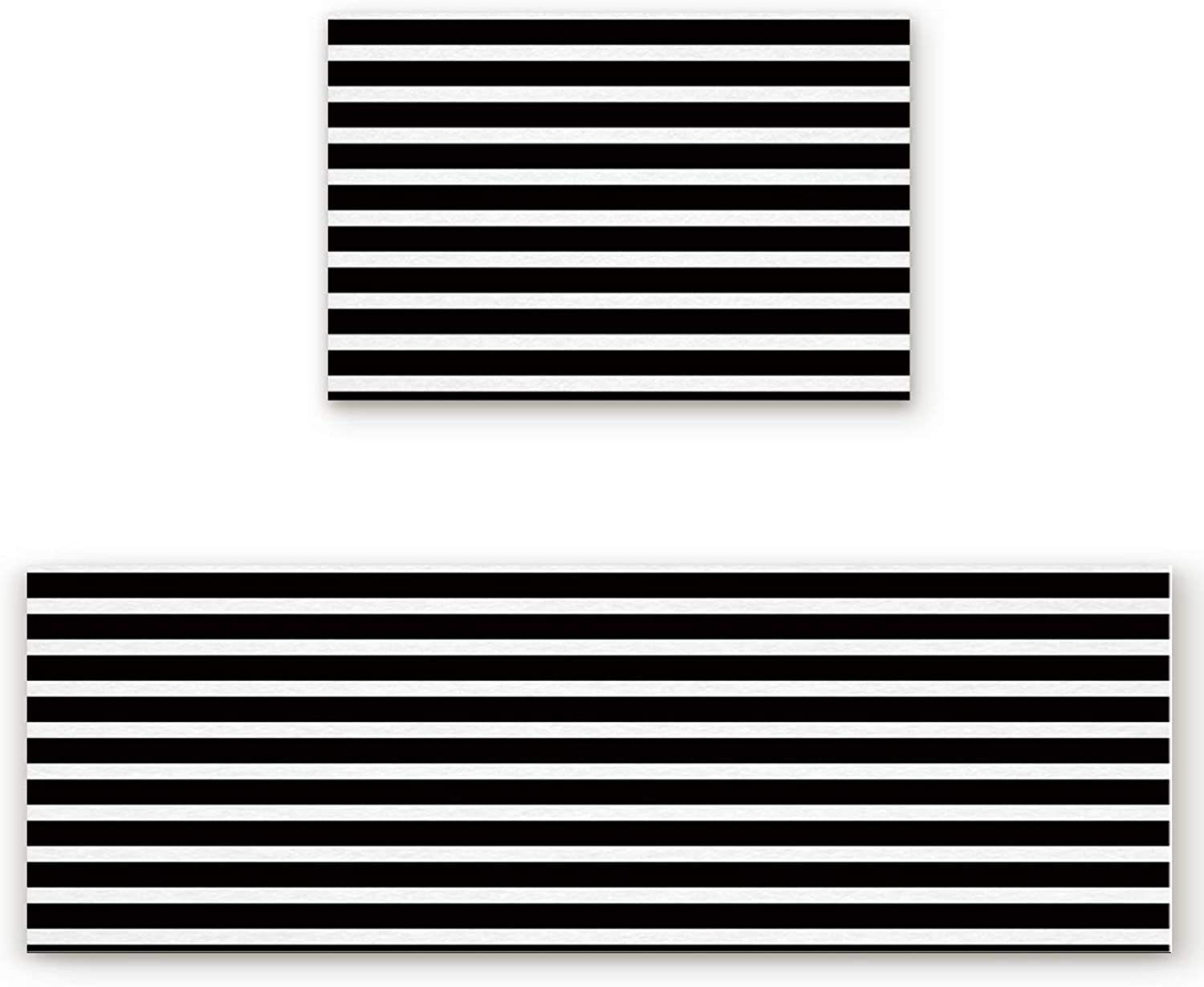 Savannan 2 Piece Non-Slip Kitchen Bathroom Entrance Mat Absorbent Durable Floor Doormat Runner Rug Set - Black and White Stripe