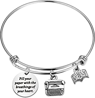 KUIYAI Fill Your Paper with Breathings of Your Heart Bracelet William Wordsworth Quote Bangle Novelist Gift