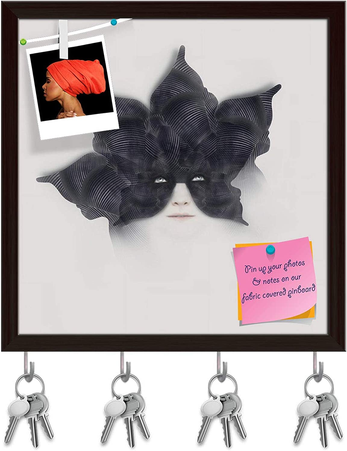 Artzfolio Female with A Bizarre Black Mask Key Holder Hooks   Notice Pin Board   Dark Brown Frame 16 X 16.3Inch