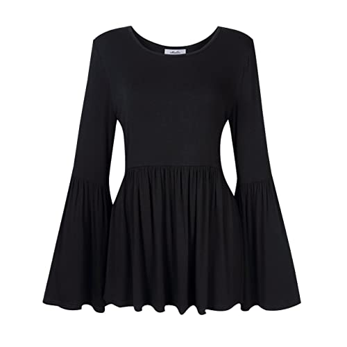 f7d4420a06b MissQee Women Plus Size Bell Sleeve Ruffle Blouse Flare Peplum Top Black 5XL
