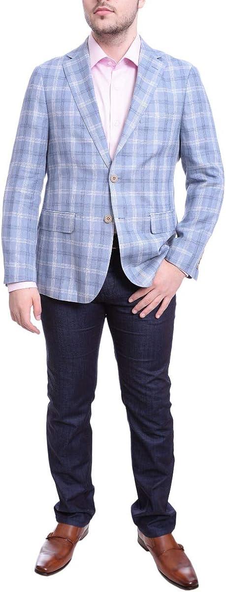 Mens Classic Fit Blue & White Plaid Two Button Linen Blazer Sportcoat