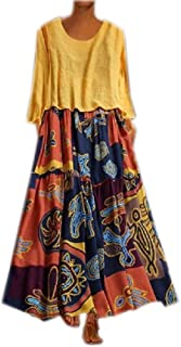Howely Womens Fashion Linen&Cotton Flower Pattern Tracksuit Long Maxi Dress
