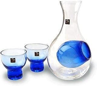 Happy Sales HSSS-GLB12, Blue Glass Sake Set for Cold Sake