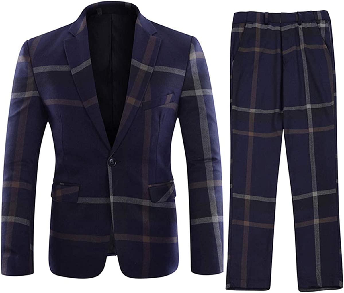 YFFUSHI Mens Plaid 2 Piece Suit Tux Shipping included Jacket Blazer Pants Set Many popular brands