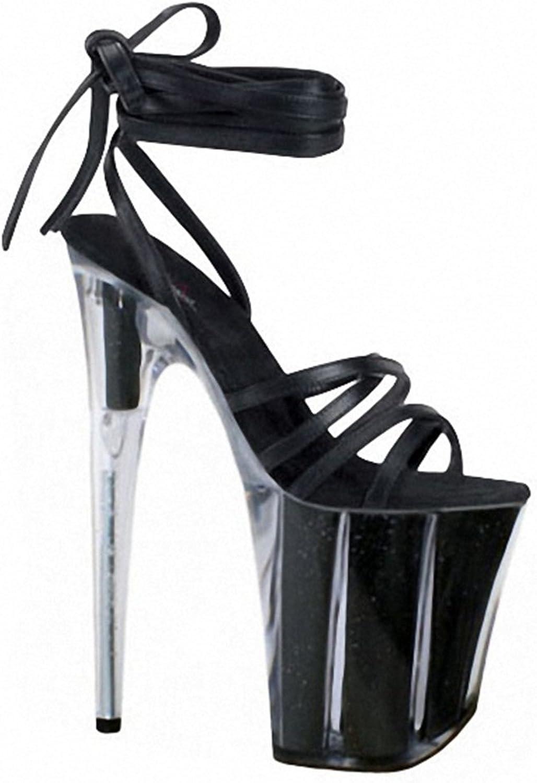 Women High Heel Sandals Platform Transparent Ankle Peep Toe Strappy shoes Size