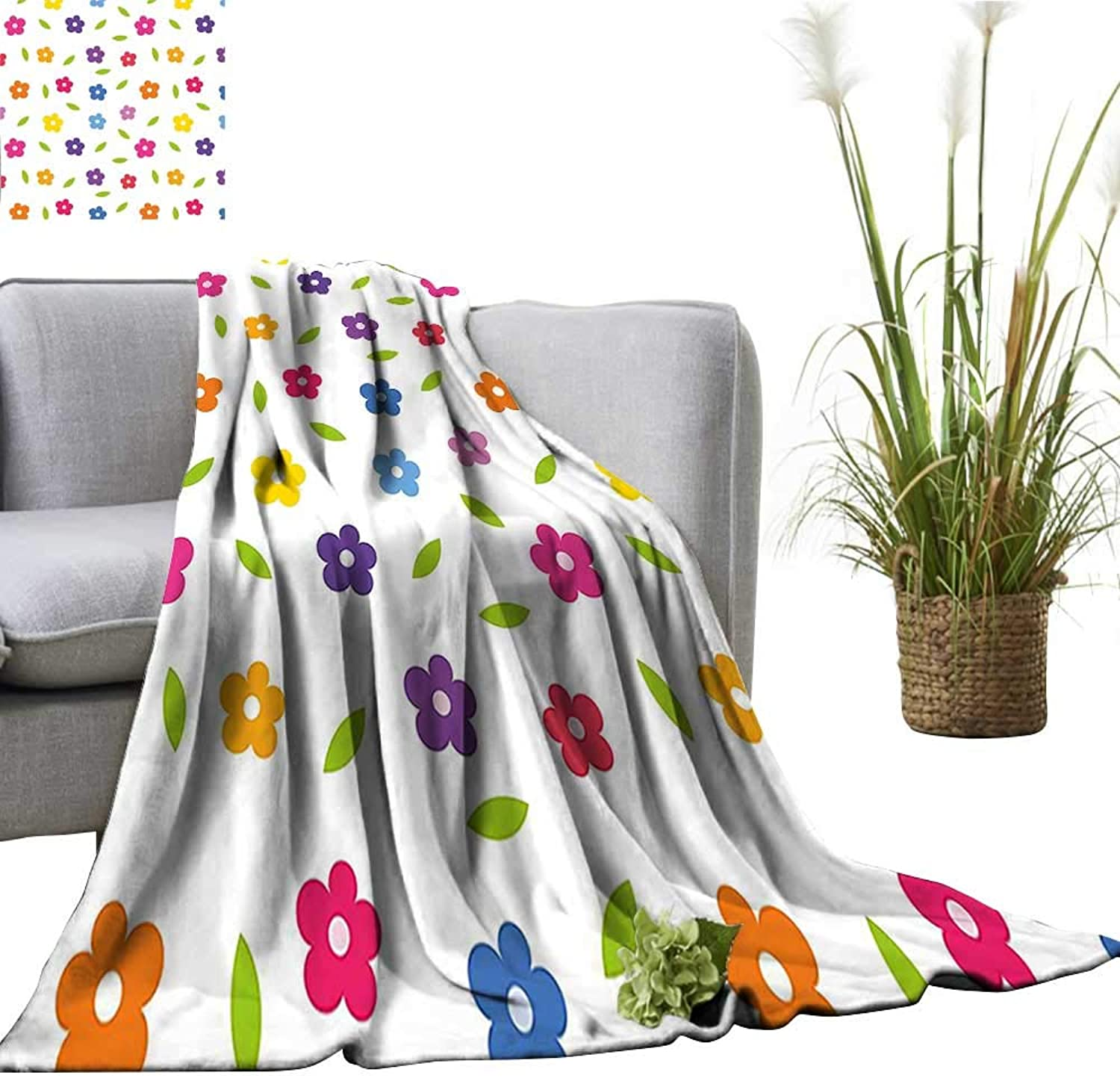 YOYI Travel Blanket colord Daisies Leaves Spring Nature Meadow Doodle Boys Girls Playroom Easy to Carry Blanket 50 x70
