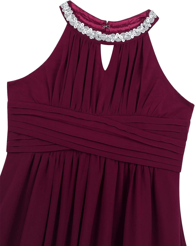 Mufeng Little Girl Sequins Halter Neck Ruffled Flower Girls Dress Chiffon Maxi Long Formal Dress Evening Prom Gowns