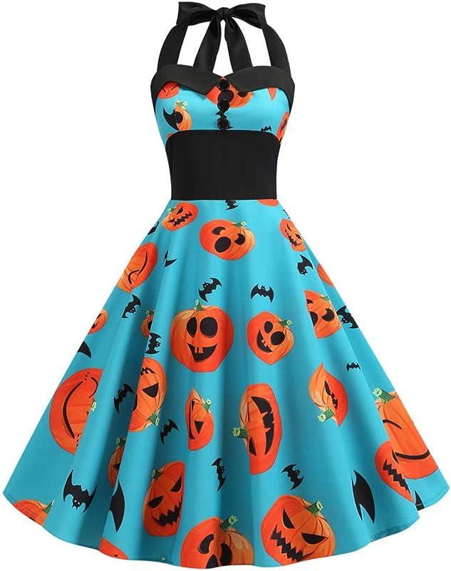 FEDULK Womens Halloween Costume 50s Retro Halter Rockabilly Bridesmaid Audrey Dress Swing Cocktail Dress