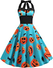 LOUJSB Women's Vintage 50s Halloween Party Dress Skull Pumpkin Printed Sleeveless A-Line Swing Dresses