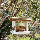 EnweMahi Comedero Pájaros con Techo,Colgante Aves Alimentador Comedero Aviario Estilo Chalet,Impermeable Dispensador Comida Pájaros para Terraza, Balcón Jardín