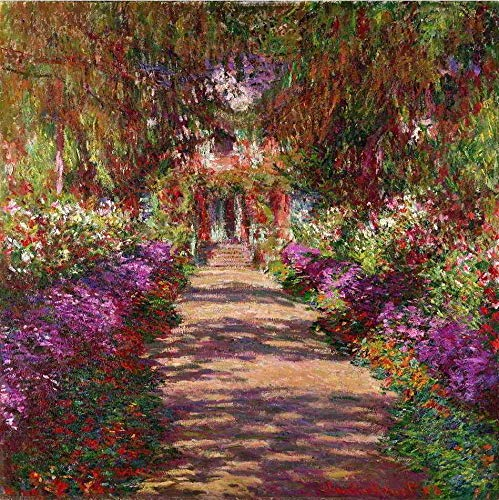 O Caminho do Jardim de Monet de Claude Monet - 60x60 - Tela Canvas Para Quadro
