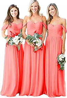 HellodayZ Women's Off The Shoulder Pleated Chiffon Beach Boho Bridesmaid Dress Plus Size Wedding Evening Party Gown