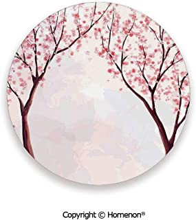 Japanese Floral Sakura Tree Cherry Blossom Spring Country Home Watercolor Style,Hot Sale Coasters Protection From Drink Pastel Pink,3.9×0.2inches(4PCS),Protect Furniture From Coffee Or Tea