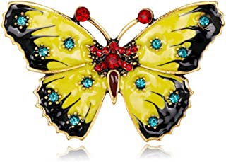 N/W Insect Butterfly with Rhinestones Brooch Pin Enamel Glaze Craft Brooches for Wedding Bridal Jewelry Xmas Gift(Yellow)