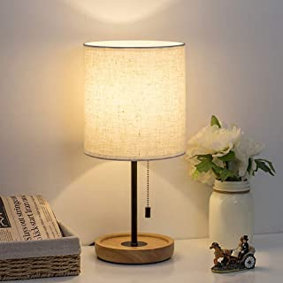 HAITRAL Bedside Table Lamp – Modern Nightstand Lamp with Linen Fabric Shade Wooden..