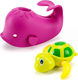 Artoflifer Baby Bath Spout Cover Baby Bathtub Faucet Cover Bath Tub Faucet Extender Protector Silicone Soft Spout Cover Purple Whale Bundles with Bath Pool Toys Wind Up Turtle Baby Bath Toys Large