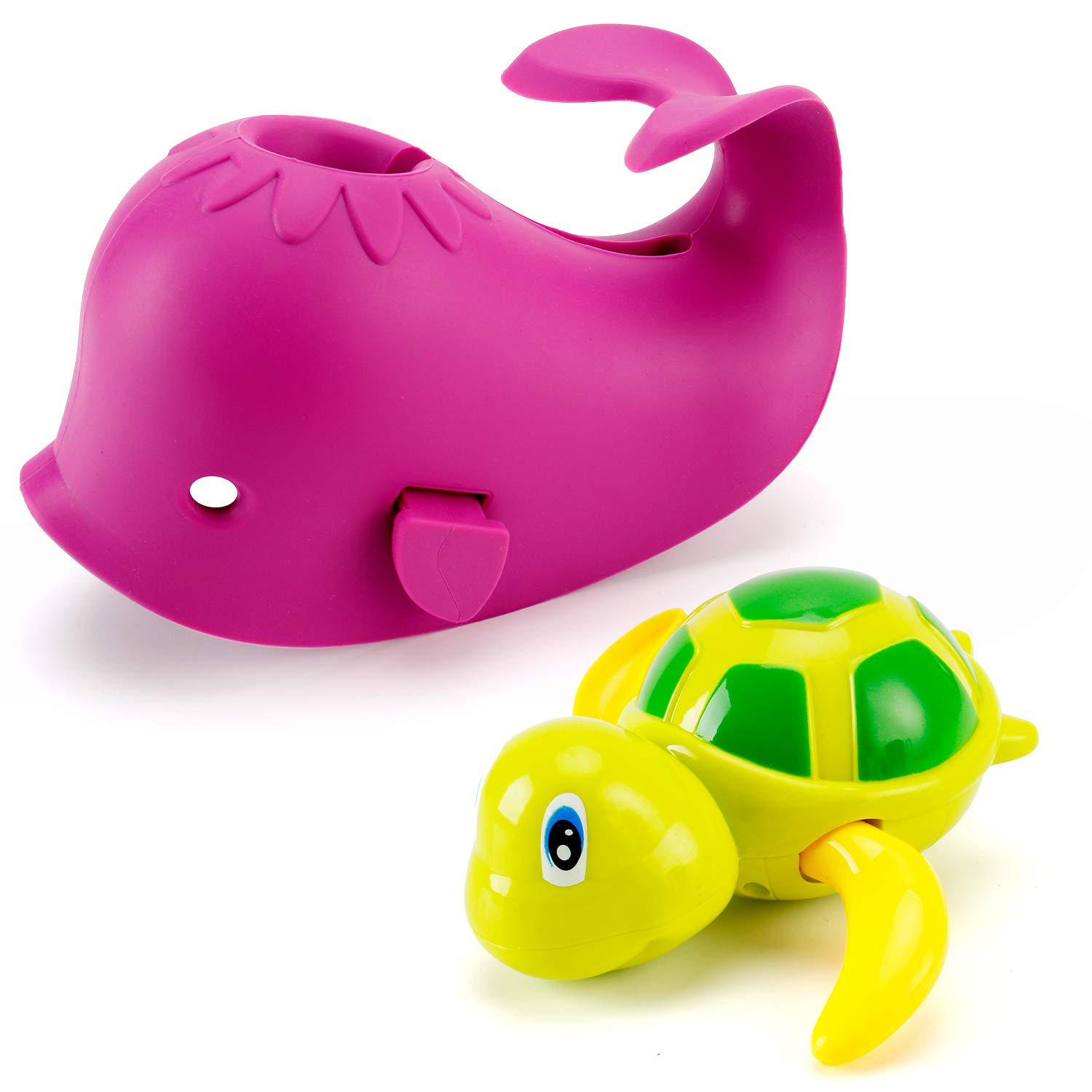Artoflifer Baby Bath Spout Cover Baby Bathtub Faucet Cover Bath Tub Faucet Extender Protector Silicone Soft Spout Cover Purple Whale Bundles with Wind Up Turtle Faucet Baby Covers Protects Purple