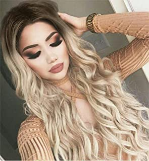 Hanne Fashion Ombre Wig Long Wavy Synthetic Wigs Brown to Ash Blonde Loose Wave Middle Part Daily Wig Heat Resistant Fiber Party Cosplay Full Wig for Women