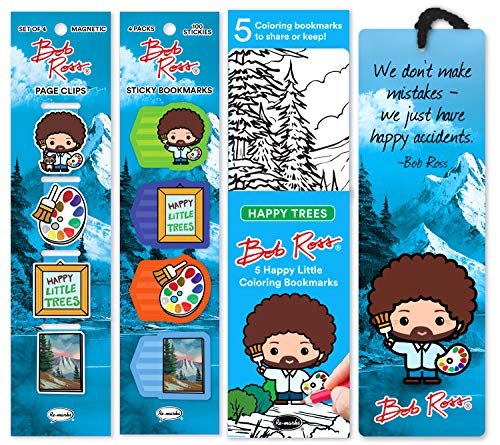 Re-marks Bob Ross Collectors Bundle of 4 Magnetic Bookmarks, 1 Tasseled Quote Bookmark, 5 Coloring Bookmarks, and 4 Pads of 25 Sticky Bookmarks