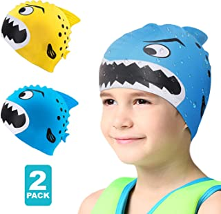 Swim Cap Kids-2 Pack Silicone Fun Swim Caps for Girls and Boys, Kids Swimming Hats with Cartoon Sharks & Minnows Design