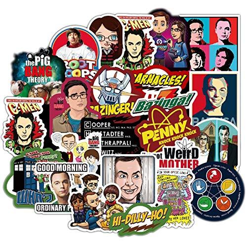 WYDML Big Bang Theory Pegatina de Dibujos Animados Serie de TV Equipaje Coche portátil calcomanía refrigerador monopatín Pegatina 50 Uds