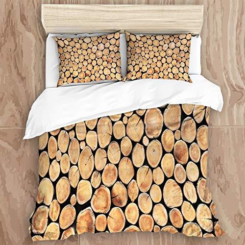 JINGGANGSHAN Bedding Set 3D Print for Duvet Cover Set 2 Pillowcases,Log Round Teak Eye Plank Plant Wood Stump Interior Lumber Tree Trunk, Twin Size