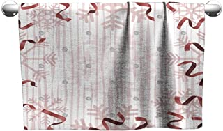 Tankcsard Style Towel Seamless Christmas Pattern with red Twist Ribbon and Silver Glitter on White Background,Towel for Hair Drying