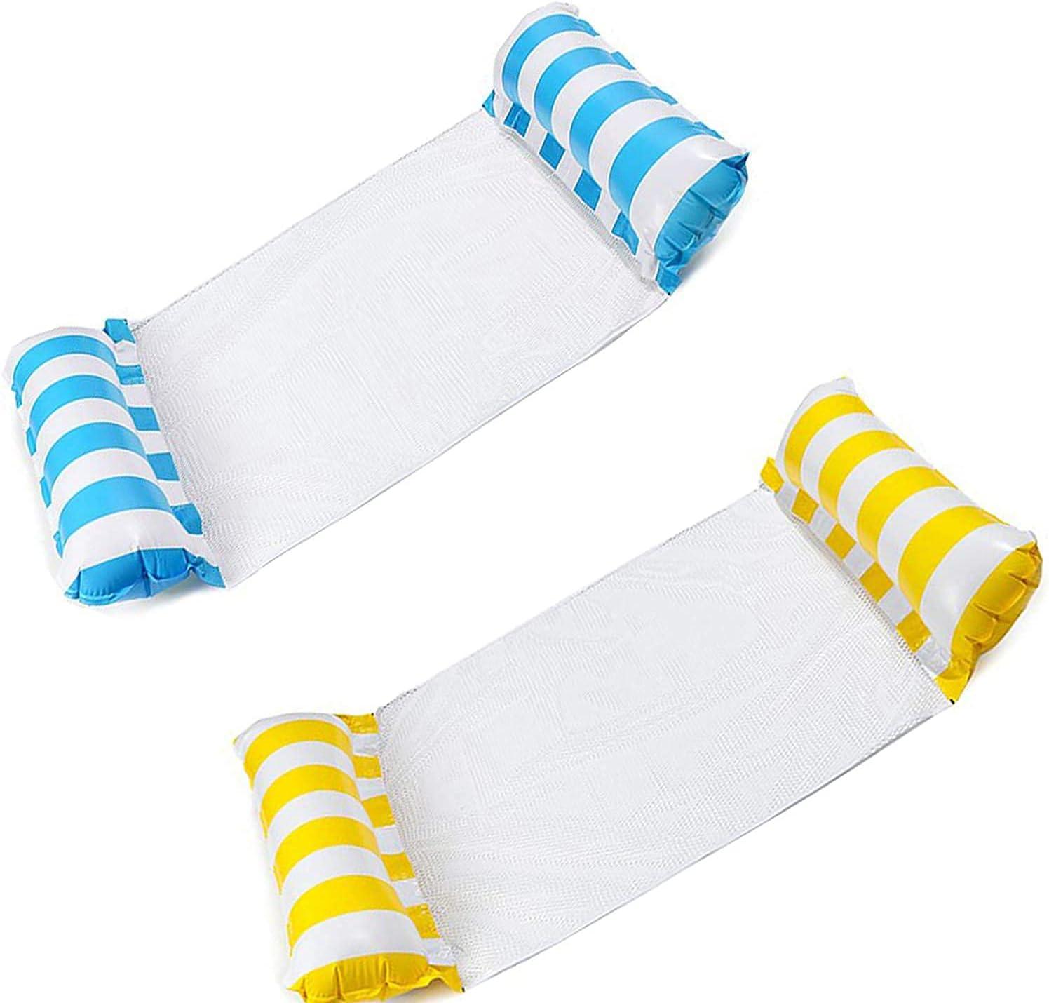 Kakeyi 2 colchonetas hinchables para piscina, hamaca, cama de natación, 4 en 1, hamaca, para piscina, playa, azul y naranja