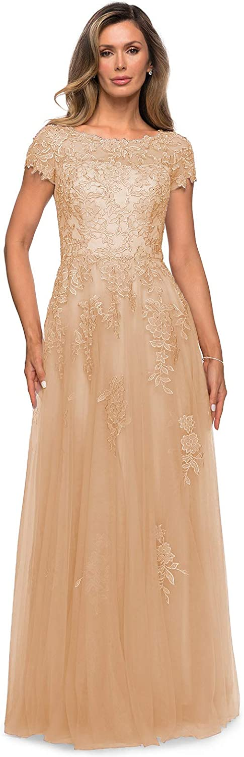 WaterDress Short Sleeve Lace Mother of The Bride Dresses Long Formal Gowns for Women WD011
