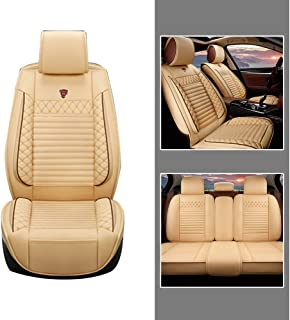 Car Front + Rear Seat Covers For Skoda Octavia Superb Rapid Yeti Karoq Leather Seat Cover Full Protection Set Cream color