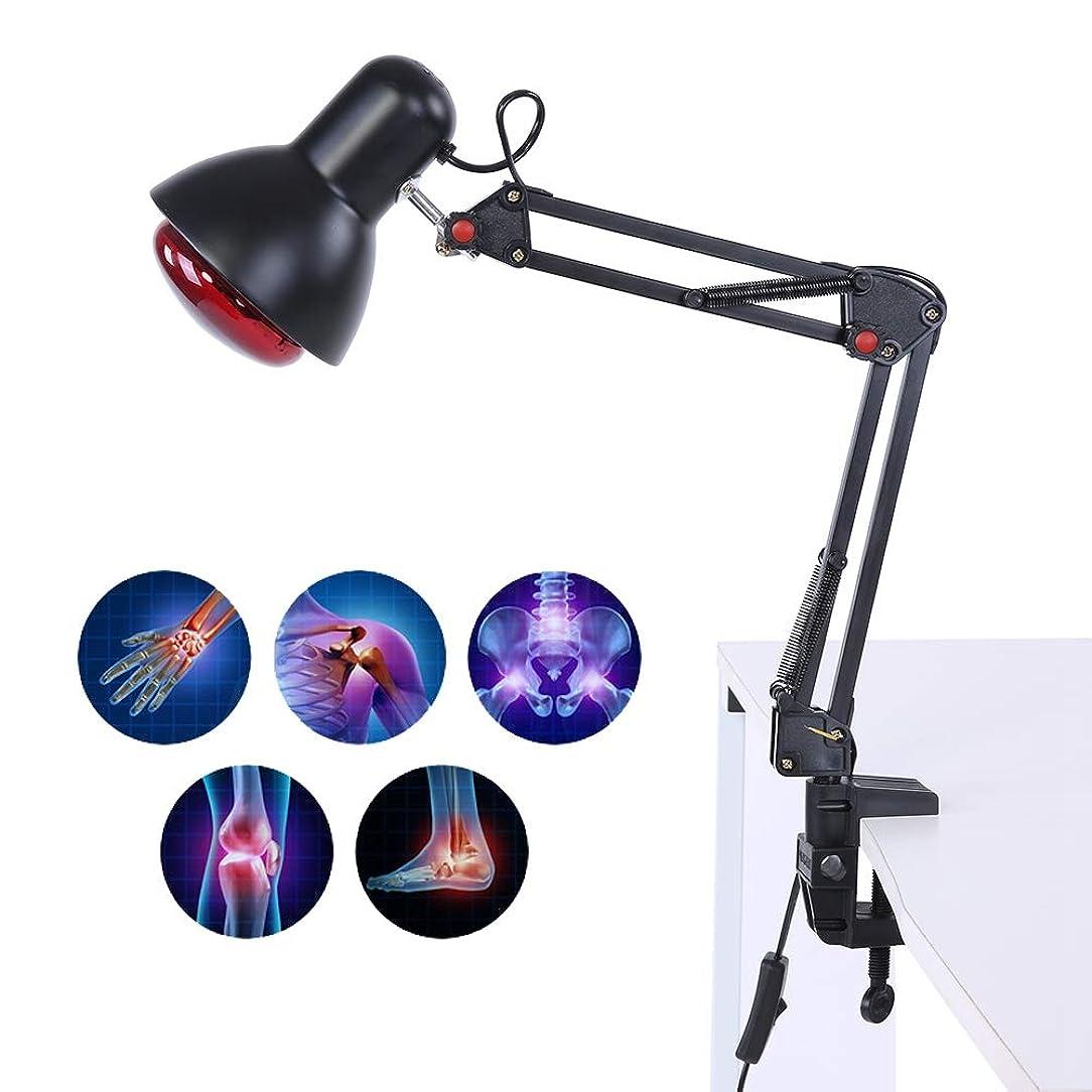 ライトニング乱用出版赤外線ヒートマッサージランプ、関節の背中の筋肉痛の軽減のためのローリングホイール/クランプ付き調節可能な温度加熱ライトマッサージ(US-PLUG)