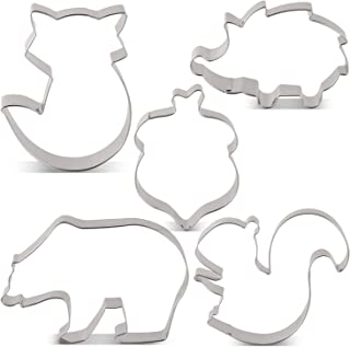 LILIAO Woodland Cookie Cutter Set - 5 Piece - Hedgehog, Fox, Grizzly Bear, Squirrel and Acorn Biscuit and Fondant Cutters - Stainless Steel