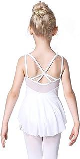 Soudittur Mädchen Ballettkleidung Ballettkleid Kinder Kurzarm Balletttrikot Ballettanzug Tanzkleid Tanzbody Baumwolle mit Rock Tütü