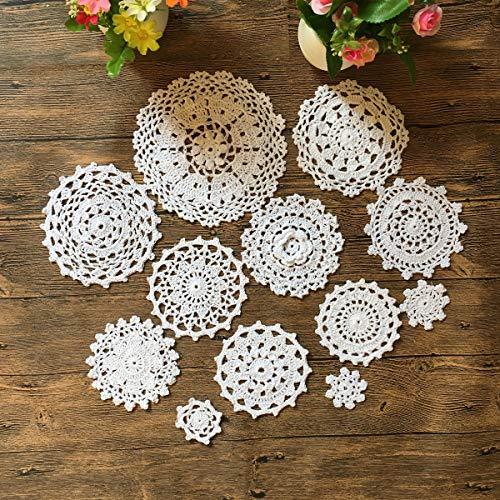 Mindplus 24 Vintage handgefertigte Häkeldeckchen Häkelmotive Mini-Deckchen Cup Mat Pad Untersetzer weiß Dekoration 5-18 cm weiß