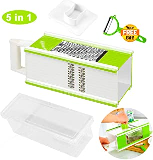 Vegetable Slicer, Vegetable Shredder, Cheese Grater, Swivel Peeler and Storage Container, 5 In 1 Kitchen Tools, 4 Sided Handheld Box Vegetable Grater