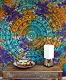 Guru-Shop Boho-Style Wandbehang, Indische Tagesdecke Mandala Druck - Batik, Mehrfarbig, Baumwolle, 240x210 cm, Bettüberwurf, Sofa Überwurf