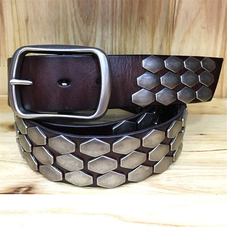 Studded Belt Full Stud Rock Punk Jeans Belt Hexagon Rivet Silver Buckle Leather Belt Unisex for Jeans Punk Rock Rivets Belt with Buckle (color   Coffee, Size   Free Size)