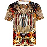 Men's Crewneck T Shirt Ethnic Tribal Paisley African Dashiki Printed 3D Summer Tee Tribal Short Sleeve Beach Blouse Tops