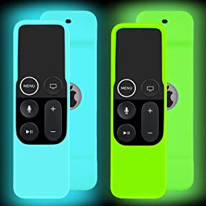 2 Pack Case Glow in The Dark Compatible with Apple TV 4K/ 4th Gen Remote Light Weight Anti-Slip Shock Proof Silicone Cover for Controller for Apple TV Siri Remote - Green and Blue