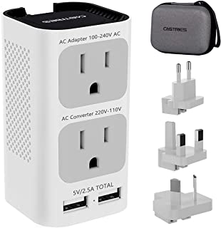 Castries Travel Adapter and Converter Combo, 2020 Upgraded Travel Voltage Converter Power Step Down 220V to 110V with 2 USB Port and EU/UK/AU/US Plug International Power Adapter for over 200 Countries
