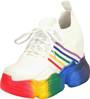 Cambridge Select Women's Retro 90s Ugly Dad Rainbow Lace-Up Chunky Platform High Hidden Wedge Fashion Sneaker