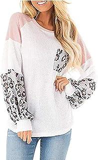Camisa Mujer Elegante, LANSKIRT Camisetas de Punto Blusa con Costuras de Leopardo Jersey Suelto de Manga Larga con Bolsill...