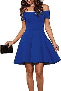 EZBELLE Womens Off The Shoulder Short Sleeve Cocktail Skater Dress