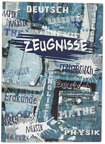 VELOFLEX 4402838 Zeugnismappe School, Sichtbuch DIN A4, PP, 20 Hüllen = 40 Sichtseiten, mit Jeans-Motiv