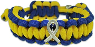 Down Syndrome Blue and Yellow w/Awareness Ribbon Paracord Adjustable Bracelet