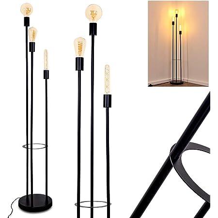Lampadaire Maidford en métal noir, luminaire moderne pour salon ou salle à manger contemporain, avec interrupteur au sol, pour 3 ampoules E27 max. 60 Watt, compatible ampoules LED