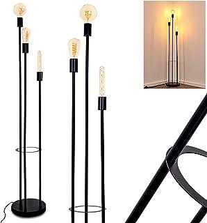 Lampadaire Maidford en métal noir, luminaire moderne pour salon ou salle à manger contemporain, avec interrupteur au sol, ...